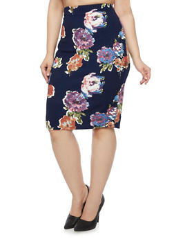Plus Size Pencil Skirt in Floral Print - 9444020624395