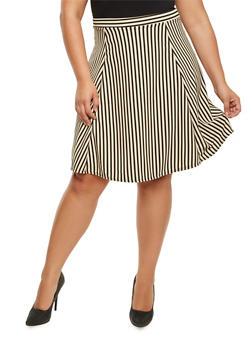 Plus Size Striped Midi Skirt - 9444020624691