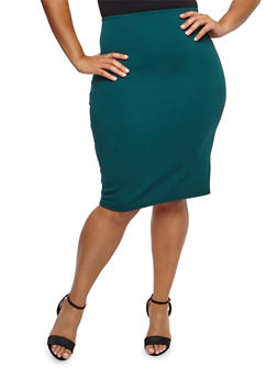 Plus Size Solid Pencil Skirt - 9444020625454