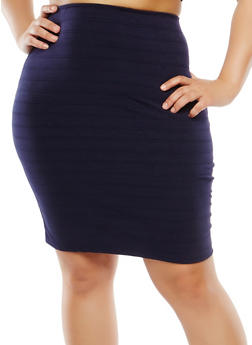 Plus Size Ribbed Pencil Skirt - 9444020625585