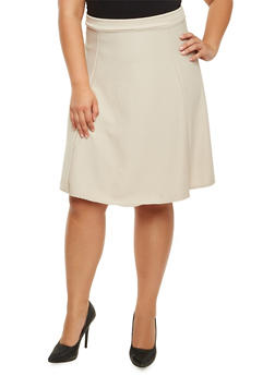 Plus Size Textured Knit Midi Skirt - 9444020625691