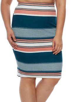 Plus Size Striped Pencil Skirt - 9444020626493