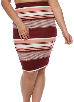 Plus Size Striped Pencil Skirt - 9444020626493