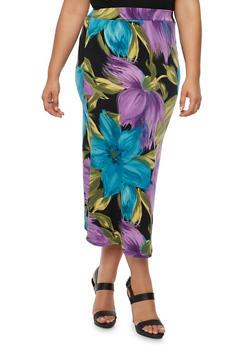 Plus Size Floral Print Midi Skirt - 9444020626944