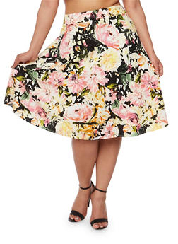 Plus Size Floral Textured Knit Skater Skirt - 9444020628304