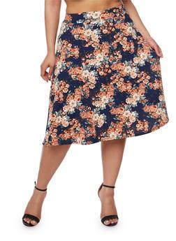 Plus Size Floral Textured Knit Skater Skirt - NAVY - 9444020628304