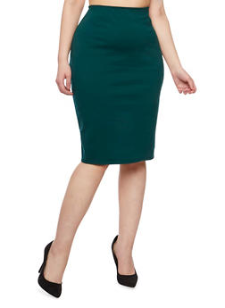 Plus Size Solid Midi Pencil Skirt - 9444020629341