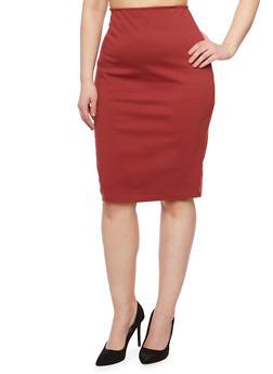 Plus Size Solid Midi Pencil Skirt - 9444020629341