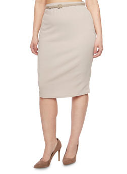 Plus Size Belted Pencil Skirt - 9444020629444