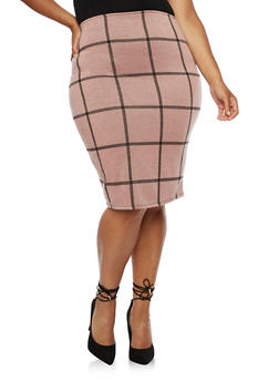 Plus Size Box Plaid Skirt - 9444020629934