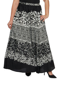 Plus Size Printed Maxi Skirt with Elastic Waist - 9444056126980