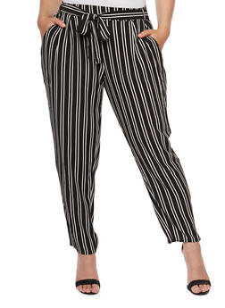 Plus Size Striped Belted Crepe Pants - 9444056129460
