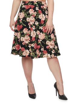 Plus Size Floral A Line Skirt - BLACK - 9444062701833