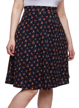 Plus Size Floral A Line Skirt - NAVY - 9444062701833