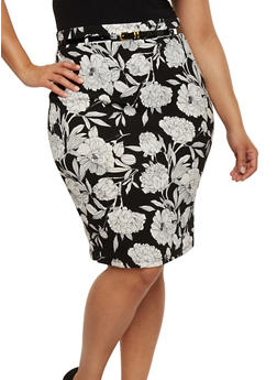 Plus Size Belted Floral Pencil Skirt - WHT-BLK - 9444062701866