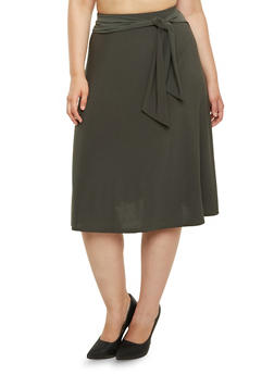Plus Size A-Line Midi Skirt With Sash Belt - 9444062708491
