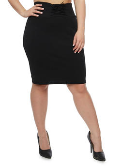 Plus Size Solid Lace Up Skirt - BLACK - 9444074011477