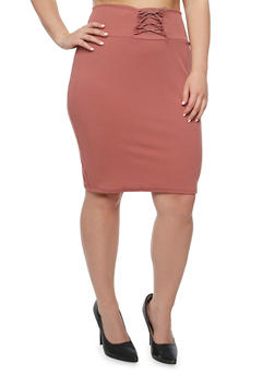 Plus Size Solid Lace Up Skirt - ROSE - 9444074011477