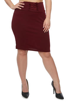 Plus Size Solid Lace Up Skirt - BURGUNDY - 9444074011477