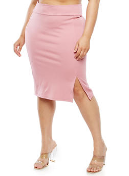 Plus Size Slit Front Skirt - 9444074016154