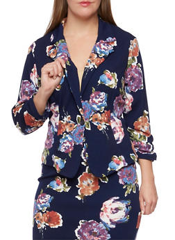 Plus Size Floral Print Blazer - NAVY/LILAC - 9445020625503