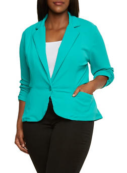 Plus Size Textured Blazer with Ruched Sleeves - 9445020626498