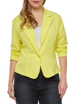 Plus Size Textured Blazer with Ruched Sleeves - 9445020627552