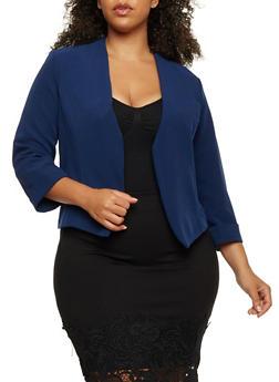 Plus Size Cuffed Open Front Blazer - 9445020629564