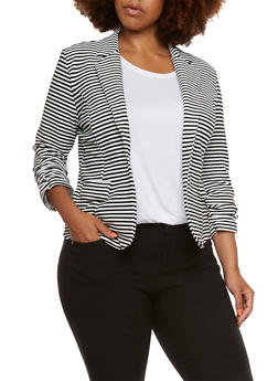 Plus Size Striped Blazer with Ruched Sleeves - 9445068513112