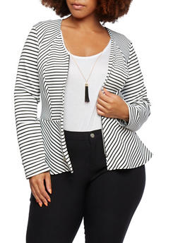Plus Size Striped Peplum Jacket with Zipper - 9445068513139
