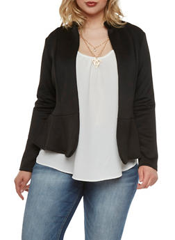 Plus Size Neoprene Blazer with Peplum Paneling - 9445068513236