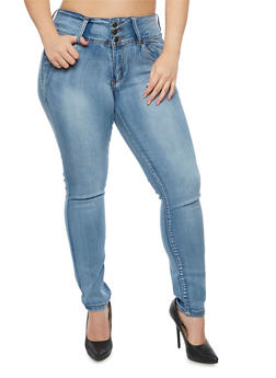 Plus Size 3 Button Skinny Jeans - 9448041759525