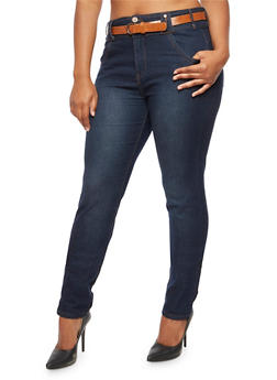 Plus Size 3 Button Jeans with Perforated Belt - 9448064461005