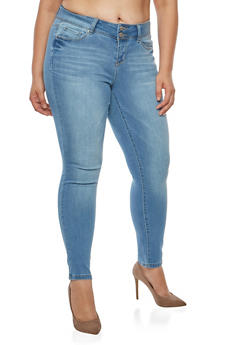 Plus Size WAX 2 Button Basic Skinny Jeans - 9448071610051