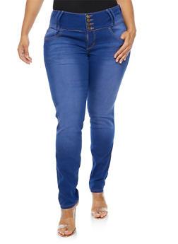 Plus Size 4 Button Wide Waist Jeans - 9448074260297