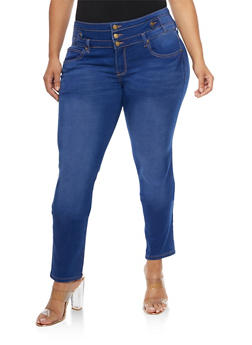 Plus Size 3 Button Skinny Jeans - 9448074260505