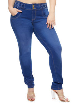 Plus Size 3 Button Skinny Jeans - 9448074260507