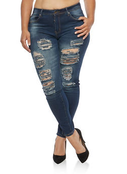 Plus Size Destroyed Skinny Jeans - 9448074261018