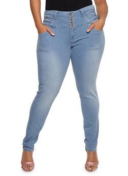 Plus Size 4 Button Criss Cross Jeans - 9448074261203
