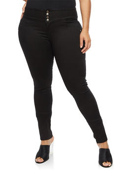 Plus Size Wide Waist Caged Back Jeans - 9448074261504