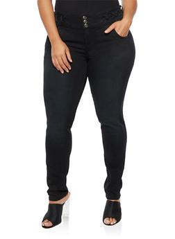 Plus Size Three Button Criss Cross Jeans - 9448074261507