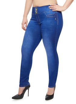 Plus Size Back Caged Keyhole Skinny Jeans - BLUE - 9448074265504