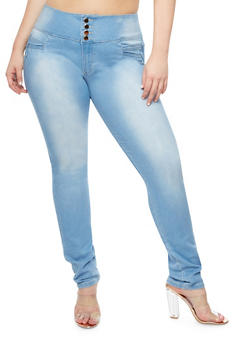 Plus Size Back Caged Keyhole Skinny Jeans - LIGHT WASH - 9448074265504