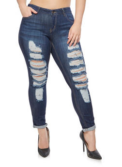 Plus Size WAX Destroyed Jeans - 9449071610081