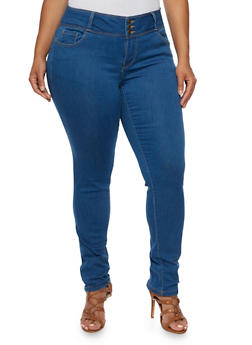 Plus Size WAX Skinny Jeans with Three Buttons - 9449071613400