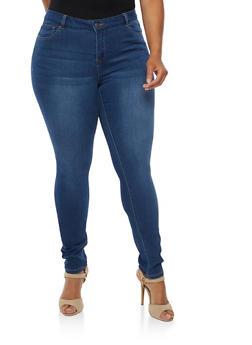 Plus Size Wax Stretch Skinny Jeans - 9449071619003