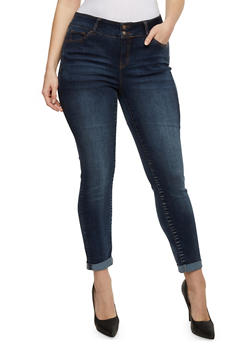 Plus Size Wax Cuffed Denim Jeans - 9449071619005