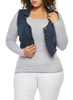 Plus Size Button Front Denim Vest - 9451064464296