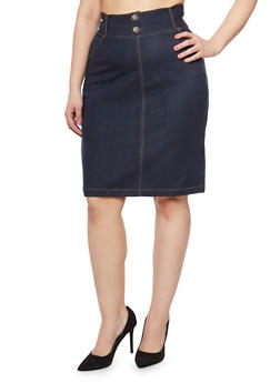 Plus Size Dark Denim Pencil Skirt - 9452062701175