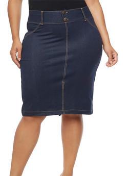 Plus Size 2 Button Denim Knit Pencil Skirt - 9452062702175